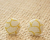 MITCHIE - cream and yellow scallop fabric button earrings