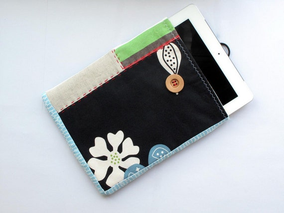 iPad padded case. Zakka style, tablet sleeve. Black canvas, linen and stripes. Dandelion inspired.