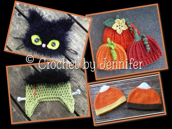 Set of 4 Crochet Patterns for Frankenstein, Black Cat, Pumpkin, and Candy Corn hats - all sizes - Welcome to sell finished items
