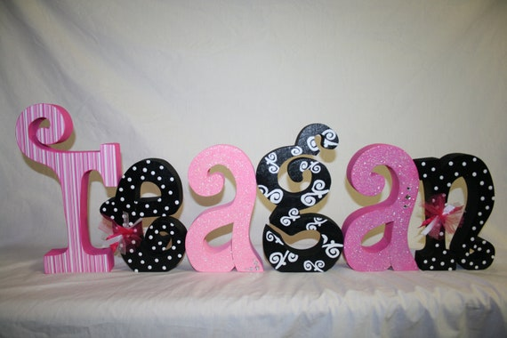 items similar to nursery letters madison bedding 6 letters six wood letters personalized wood letters custom nursery decor custom wood letters on etsy