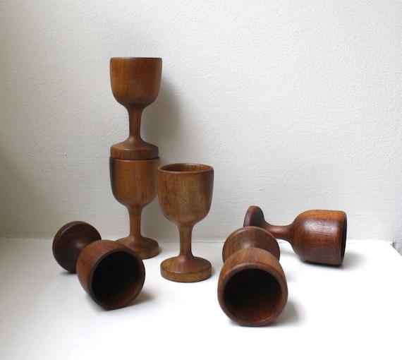 Vintage Modern Petite Wood Aperitif Cordial Glasses Cups 1960's Set of 6 Hand Turned