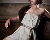 Duck Egg Silk 1920s style Great Gatsby Dress with antique lace collar - AliceHalliday