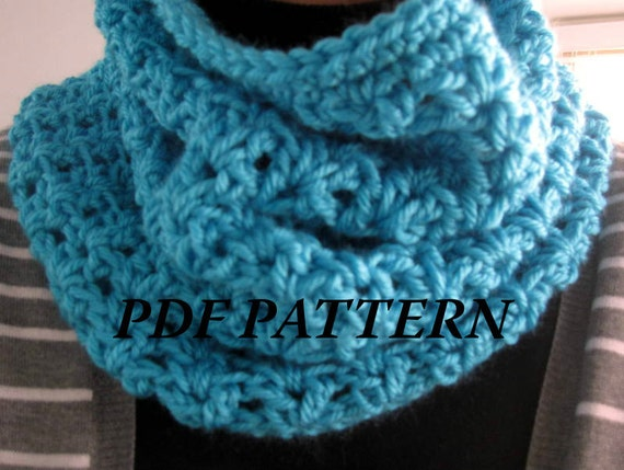 Crochet Scarf Patterns Worsted Weight : CROCHET PATTERN PDF Cozy Crochet Cowl / Infinity Scarf