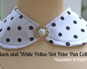 Handmade Peter Pan Collar Necklace Retro Black and White Polka Dot Print FREE SHIPPING