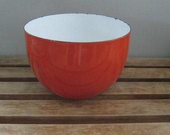 Bright Red Arabia Finland Enamelware Large Bowl