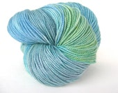 OPAL Hand Dyed Yarn MCN Sock Weight Green and Blue - spinningmulefibers
