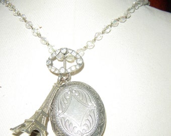 Parisian Vintage Assemblage Locket Necklace French Eiffel Tower Souvenir