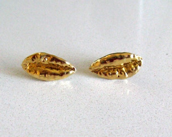 Wheat Charm Gold Plated Sterling Silver Stud Earrings. Handmade Jewelry. Made With Love