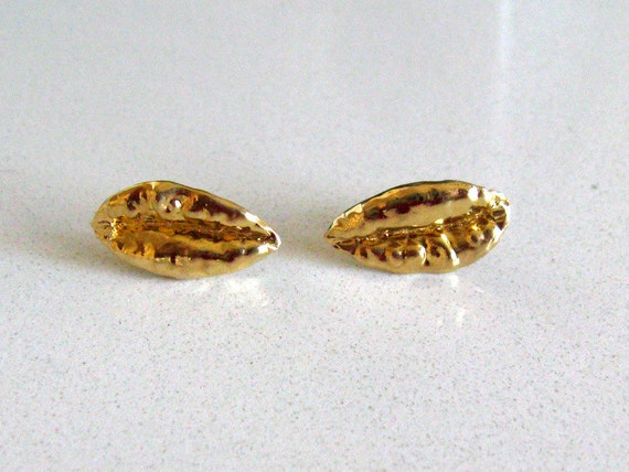 Wheat Charm Gold Plated Sterling Silver Stud Earrings - Handmade Jewelry - Made With Love