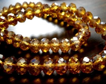 Sparkly Topaz AB Rondelle Faceted Beads-5x8mm, 10pcs