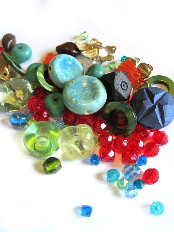 Big random bead lot - bead grab bag - vintage beads