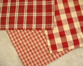 Three linen cotton blend homespun kitchen towels or large napkins, classic plaid check cranberry reds and creamy ecru white colored
