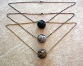 FREE US SHIPPING - Metal Sphere Necklaces - Metallic - Unisex - Layering - Gift Idea - Ready to Ship