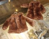 Vintage pair Barbie doll brown faux fur jacket coats with beaded hangers