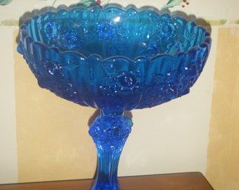 Vintage Fenton Glass Compote// Cobalt Blue Colonial Rose Pattern