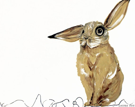 Funny Rabbit Art, art print that makes one smile, gift size wall art
