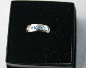 Custom Stamped Name/Family Ring - 8mm Stainless Steel Dome