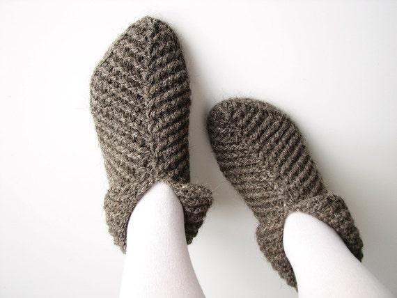 Crocheted Woolen Slippers / Socks - 100% Natural Organic Wool - Winter Home Comfort