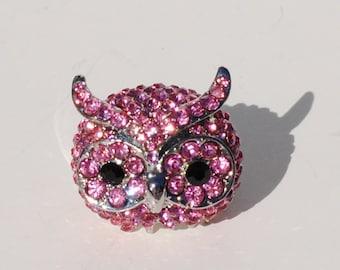 Swarovski Pink Rhinestone Owl Ring