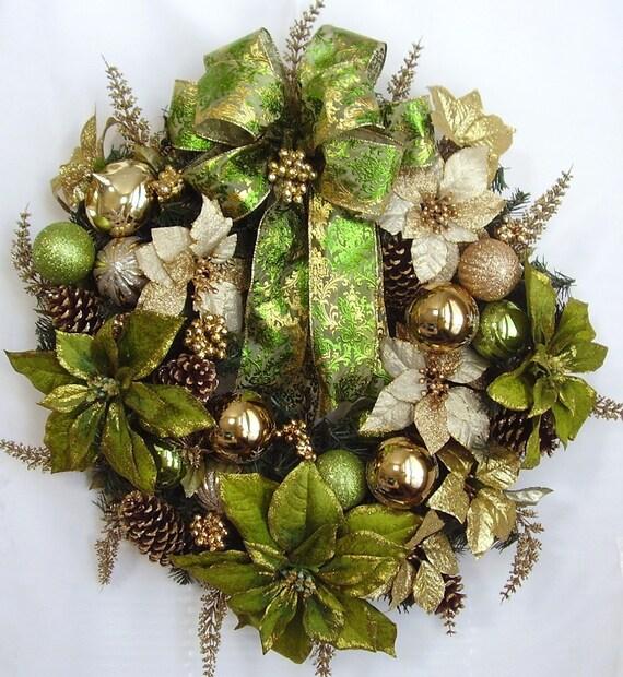 Christmas, Holiday, Winter, Green, Gold, Poinsettia  Flower Door Wreath