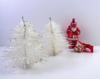 "Mid Century Bottlebrush Trees White Silver Glitter Two 3"" Trees Miniature Displays"