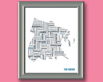 The Bronx Typography Map 8x10 Print