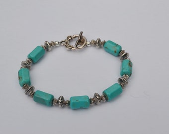 Turquoise Magnesite and Pewter Bracelet, 8 inch bracelet