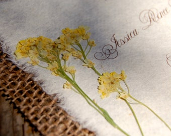 Do It Yourself  D-I-Y Rustic Burlap Yellow Flower Wedding Invitation