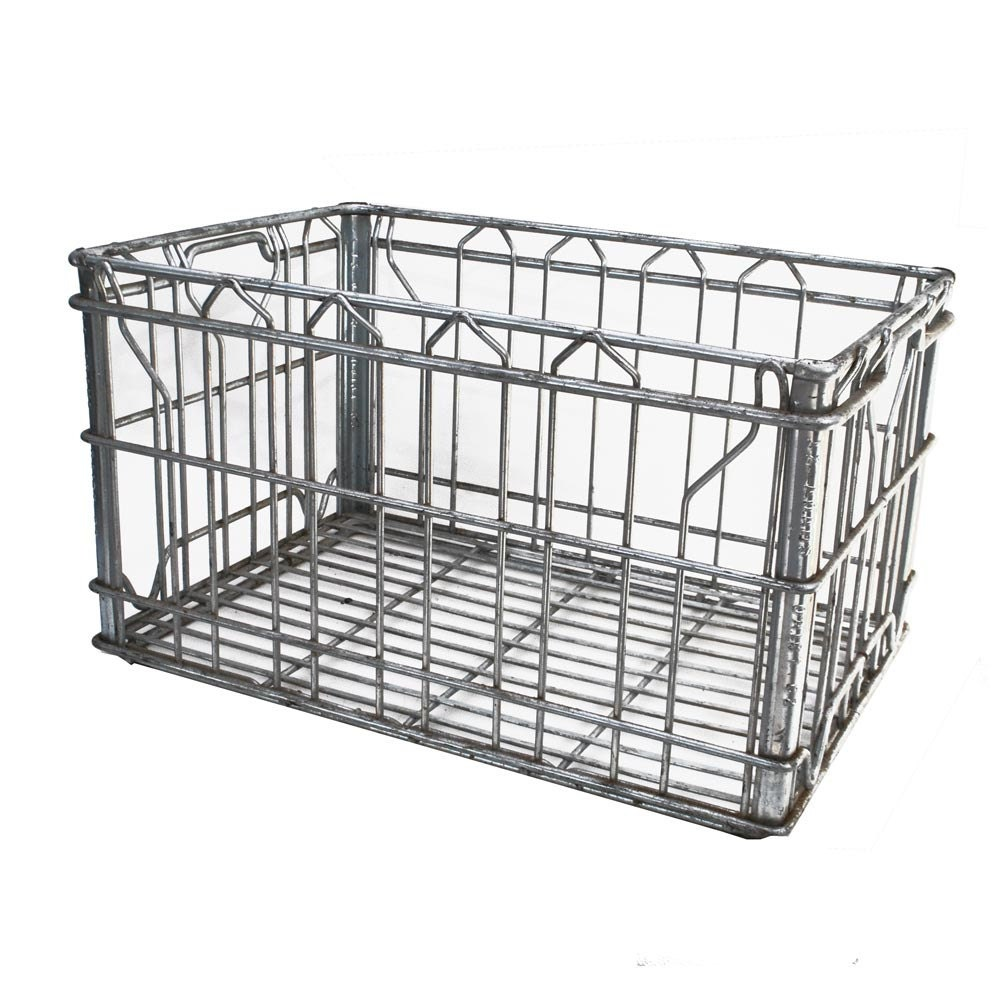Metal dairy crate wire milk crate wire crate by for Metal shipping crate