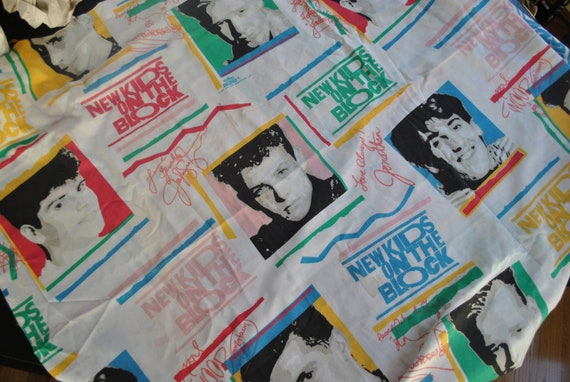 Vintage New Kids On The Block Twin Flat Sheet Bedding Craft