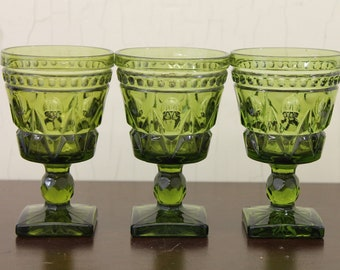 Vintage Set of Three Green Footed Goblets (E1573)