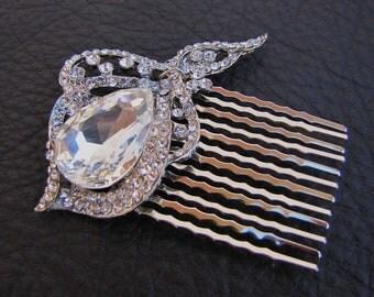 Bridal rhinestone hair comb, sparkling jewl vintage inspired wedding head piece fascinator - Crown Gloria
