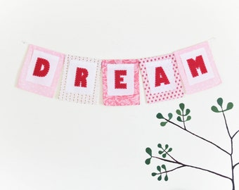 Personalized Fabric Bunting, Pink