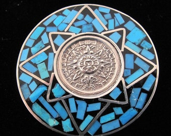 MEXICAN SILVER brooch  pendant necklace.  turquoise .stone inlay.  sterling. 925. aztec calendar . mayan. vintage. No.001230