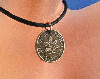 Germany Charm. Germany Necklace - German Coin - pfennig coin jewelry -  Germany Jewelry - coin necklace- Berlin - Munich   No.001250
