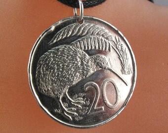 NEW ZEALAND Jewelry. New Zealand  kiwi bird necklace. Bird Lover Gift. New Zealand Coin Necklace. Boho Jewelry  No.00882