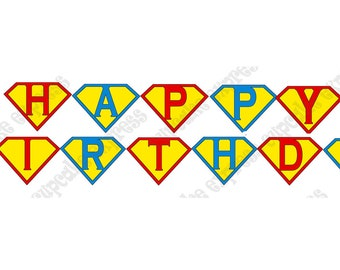 INSTANT DOWNLOAD diy  Super Hero  Birthday Party  Printable pendant Banner red blue yellow -Cupcake Express