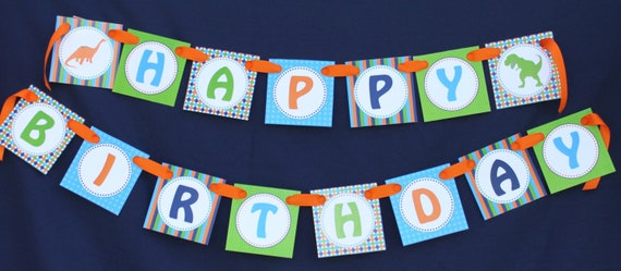 Dinosaur diy Banner Birthday Collection PRINTABLE Party happy birthday  Banner INSTANT DOWNLOAD