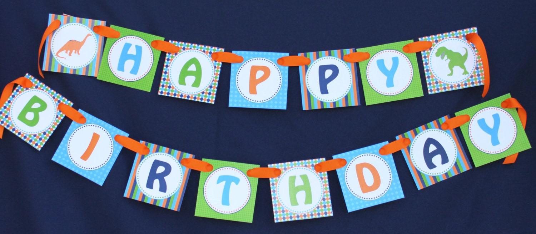 Dinosaur diy Banner Birthday Collection PRINTABLE Party happy