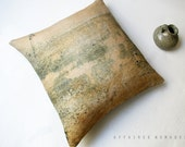 "Sand yellow Linen Squart Cushion18""x18"" .. Track / FRAGMENTS Minimal Art Neutral Colors Natural Home Decor"