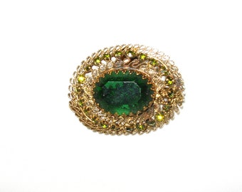 Beautiful Antique Oval Filigree Pin with Green Stones Austria