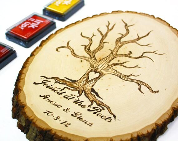 Fingerprint Tree Roots Design Wood Slice Rustic Theme Wedding
