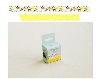 Yellow Polka Dots, Aqua Blue, Orange, Yellow, and Black Abstract Art Pattern Masking Tapes Set of 2