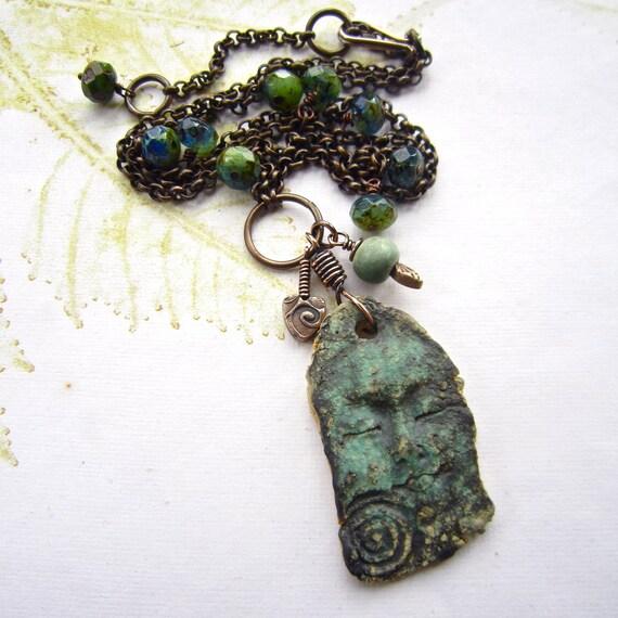 Ceramic pendant, beaded necklace, artisan ceramic necklace, Ancient relic necklace - PEACE PERFECT PEACE