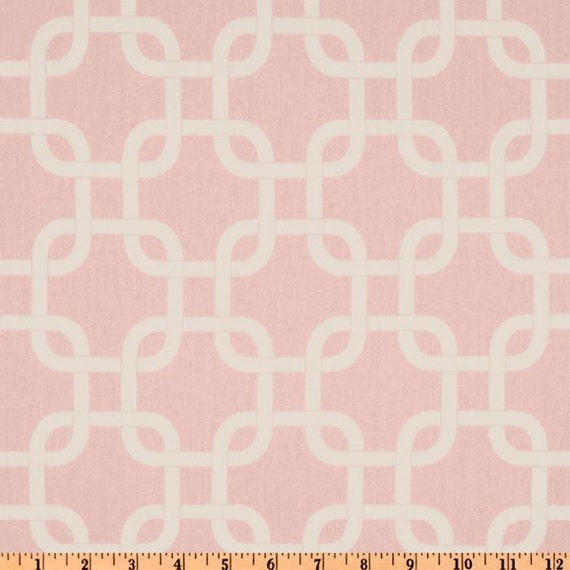 RESERVED for KIM - Cotton Twill - Pale Pink with White Geometric Design - Set of 4