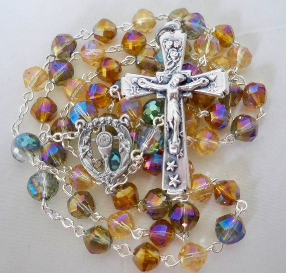 Handmade Catholic Rosary, Helix Crystal Beads in Shades of Topaz, Eucharistic Center, Stars and Roses Crucifix
