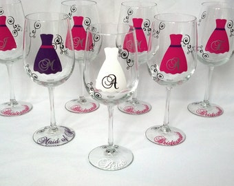 Set of 7 Bridesmaid gift wine glasses, Personalized bachelorette favor glasses, hot pink, plum purple, silver and black