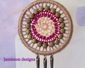Medallion Studded Crochet Earrings- Glitter fuchsia