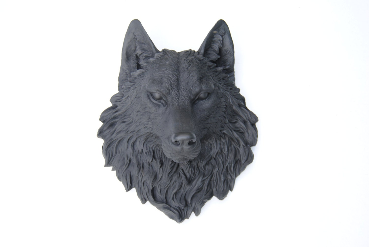 Wolf Head Wall Mount Black Wolf Head Wall Mount Faux