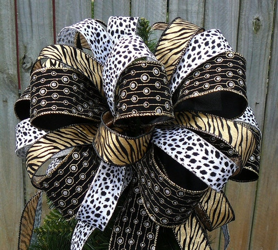 Tree Top Bow For Christmas Large Animal Print Tree Topper